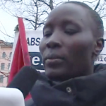 Berlin refugee activist reads soli statement