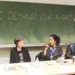 Podium der Diskussionsveranstaltung am 30.1. mit WissenschafterInnen und Refugee Activists an der Universität Wien