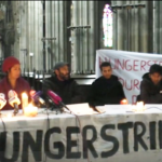 Pressekonferenz in der Votivkirche während des Hungerstreiks