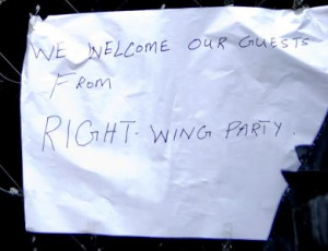 """We welcome our guests from the right wing party"" Foto © Martin Juen"