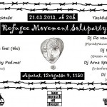 Flyer: Lineup der Refugee Movement Soli Party, 21.3.2013