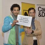 Protestaktion der Refugeeprotest- Bewegung bei einer Caritas Veranstaltung